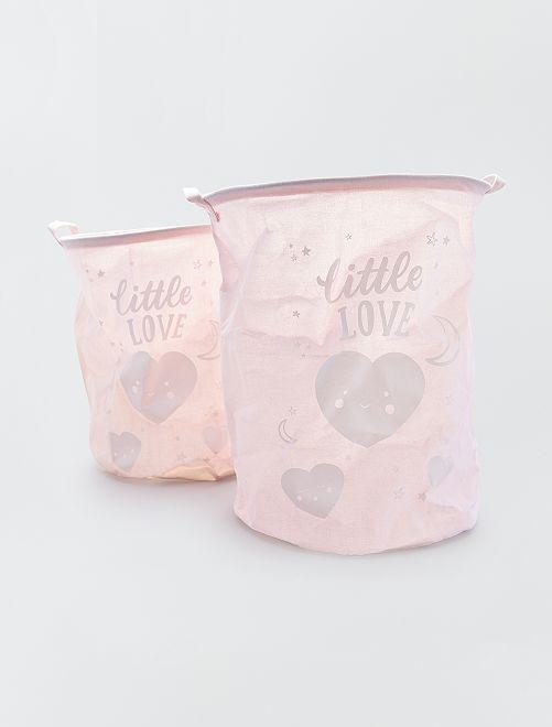 Cesta doble para la ropa 'Little Love'                                         rosa