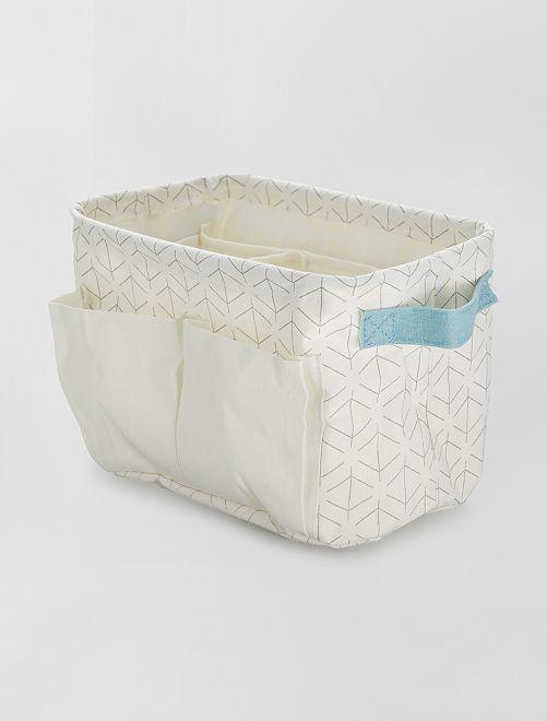 Cesta rectangular con varios compartimentos                             blanco/azul