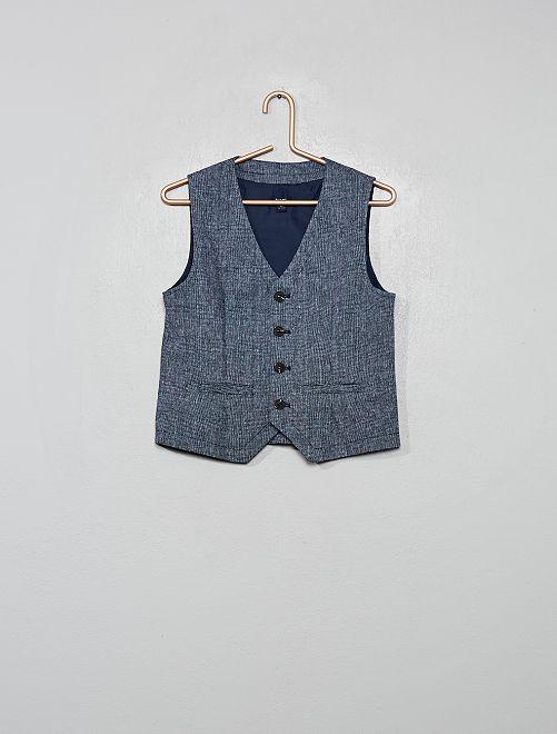 Chaleco de traje de lino y algodón                                         azul