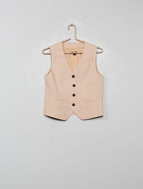 Chaleco de traje de lino y algodón                                         BEIGE