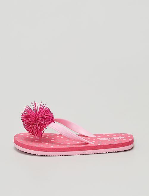 Chanclas de plástico con borla                             rosa