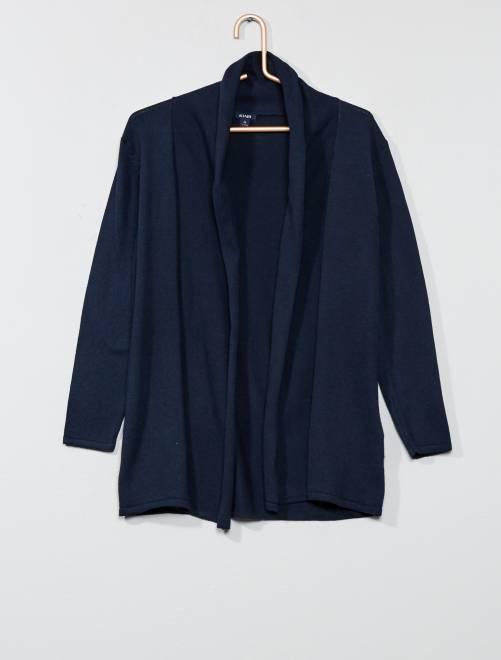 Chaqueta abierta con cuello esmoquin                                 azul