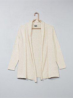Jerséis, chaquetas de punto - Chaqueta abierta con cuello esmoquin - Kiabi