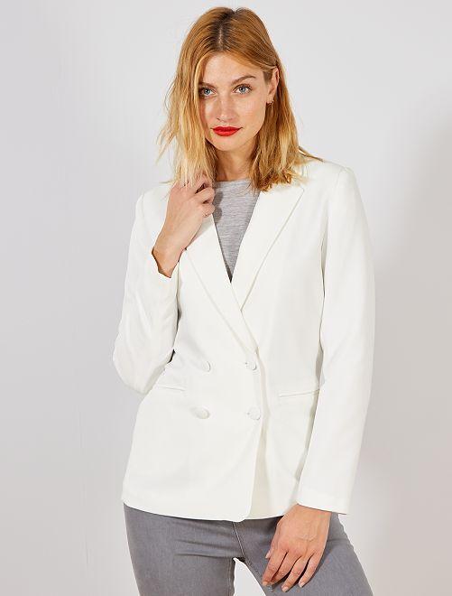 Chaqueta blazer con doble hilera de botones                                         blanco nieve Mujer talla 34 a 48