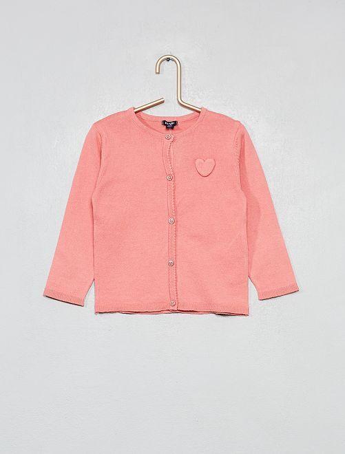 Chaqueta con corazón bordado                                                                 rosa Bebé niña