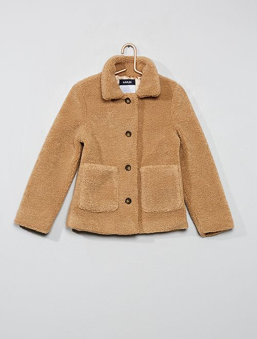 Chaqueta corta efecto lana rizada                                         beige