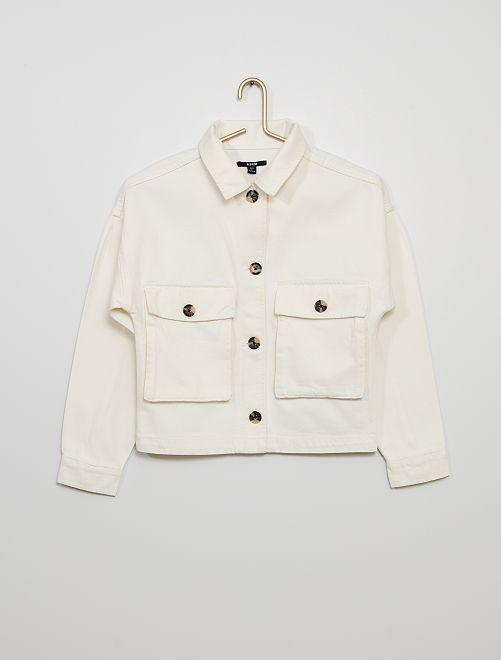 Chaqueta de algodón con botones                                                     blanco nieve