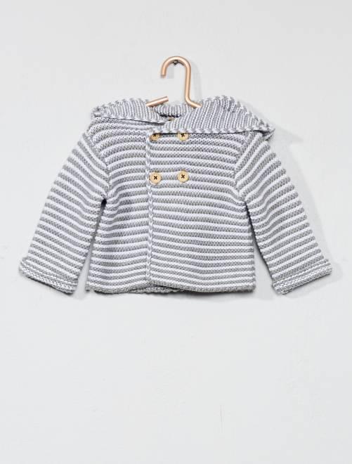 Chaqueta de punto bobo con capucha                             GRIS Bebé niño