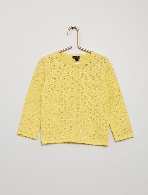 Chaqueta de punto calado                                         amarillo suave