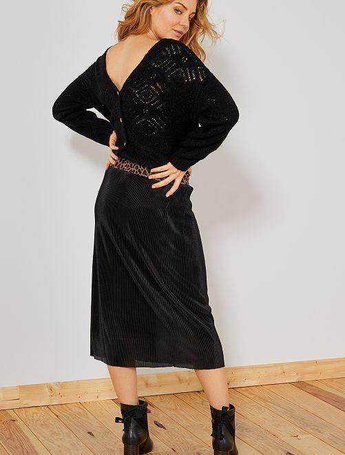 Chaqueta de punto calado                                                                 negro Mujer talla 34 a 48