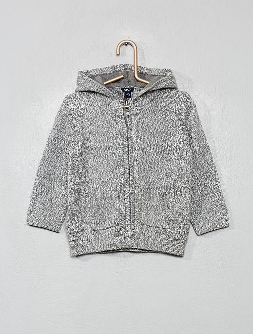 Chaqueta de punto con capucha de algodón                                                     gris