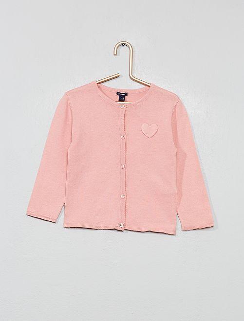 Chaqueta de punto con parche de corazón                                                                                                     rosa Bebé niña