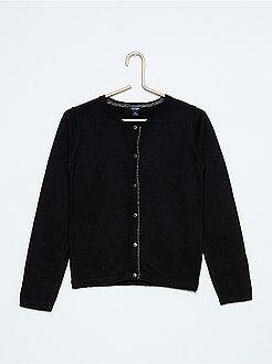 Jerséis, chaquetas de punto - Chaqueta de punto de algodón fino con detalle brillante