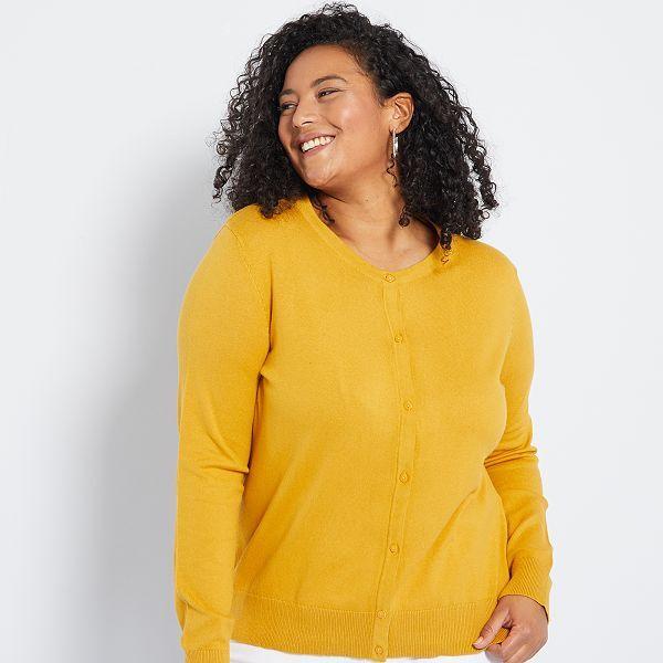 Chaqueta De Punto Fino Tallas Grandes Mujer Amarillo Kiabi 13 00
