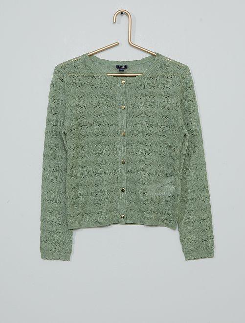 Chaqueta de punto fino calado                                         verde gris