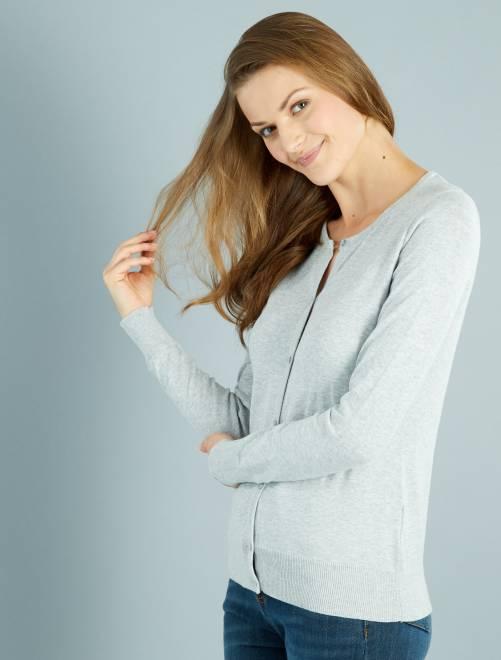 Chaqueta de punto fino con botones                                                                                 gris Mujer talla 34 a 48