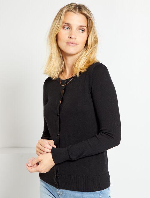 Chaqueta de punto fino con botones negro Mujer talla 34 to 48