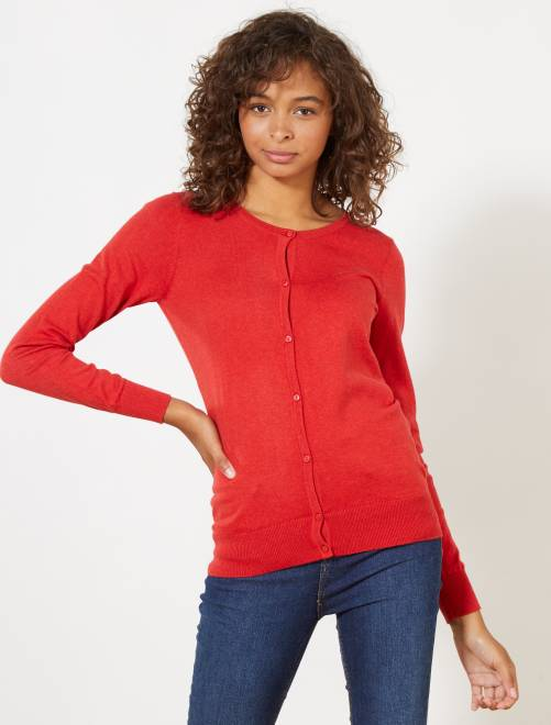 Chaqueta de punto fino con botones                                                                                                                                                     rojo Mujer talla 34 a 48