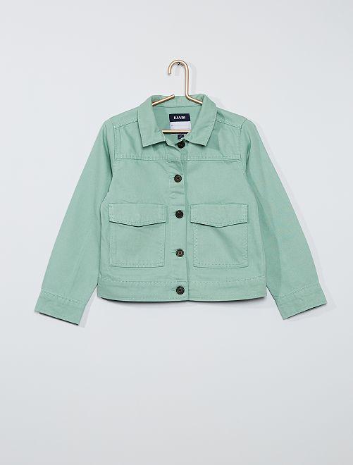 Chaqueta de sarga con bolsillos grandes                                                                 verde gris