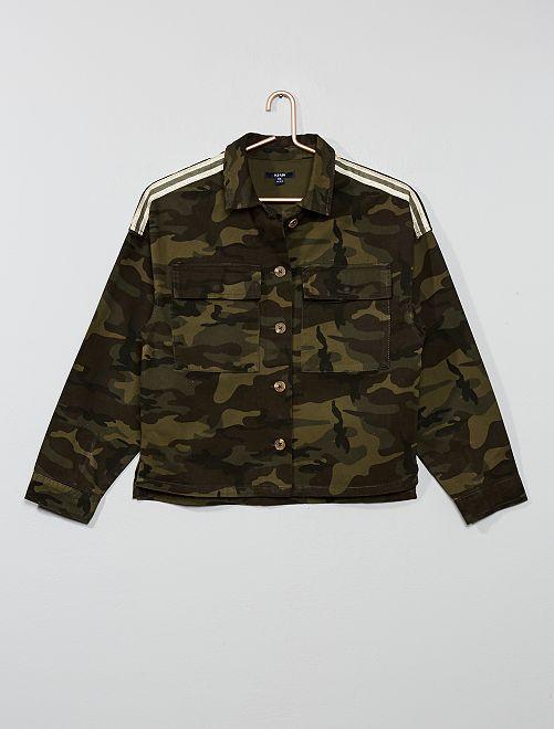 Chaqueta de tela de estilo militar                                         caqui camuflaje Joven niña