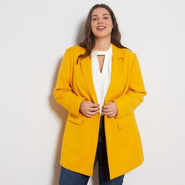 Chaqueta Larga Tallas Grandes Mujer Amarillo Kiabi 27 00