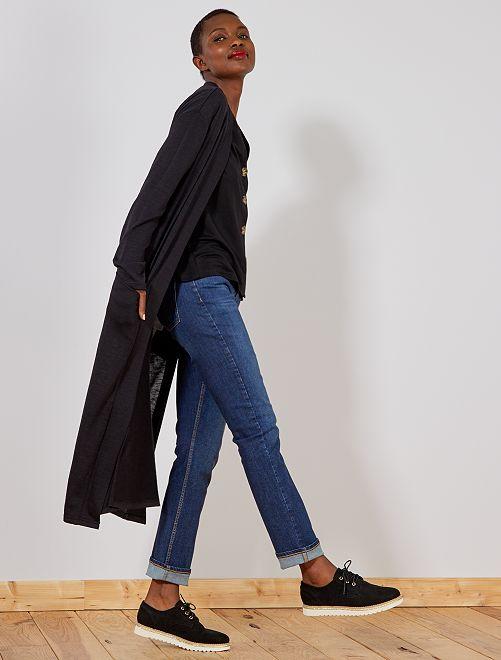 Chaqueta larga de punto muy fino                                         negro Mujer talla 34 a 48