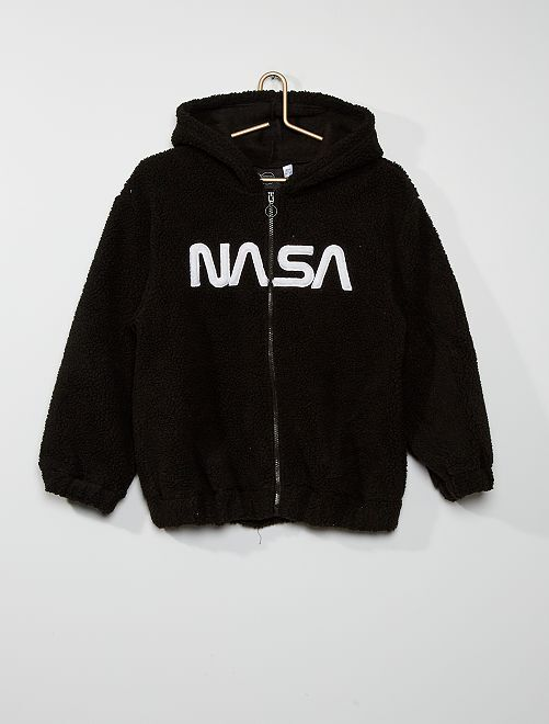 Chaqueta 'NASA' de borreguito                             negro