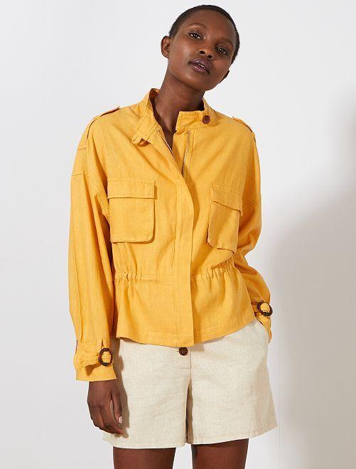 Chaqueta sahariana efecto lino                                         AMARILLO Mujer talla 34 a 48