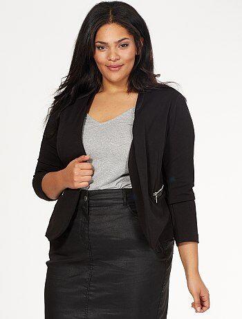 Chaqueta sastre con cuello de piel sintética y cremalleras en los bolsillos                             negro Tallas grandes mujer