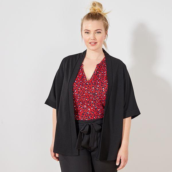 Chaqueta Tipo Kimono Tallas Grandes Mujer Negro Kiabi 16 00