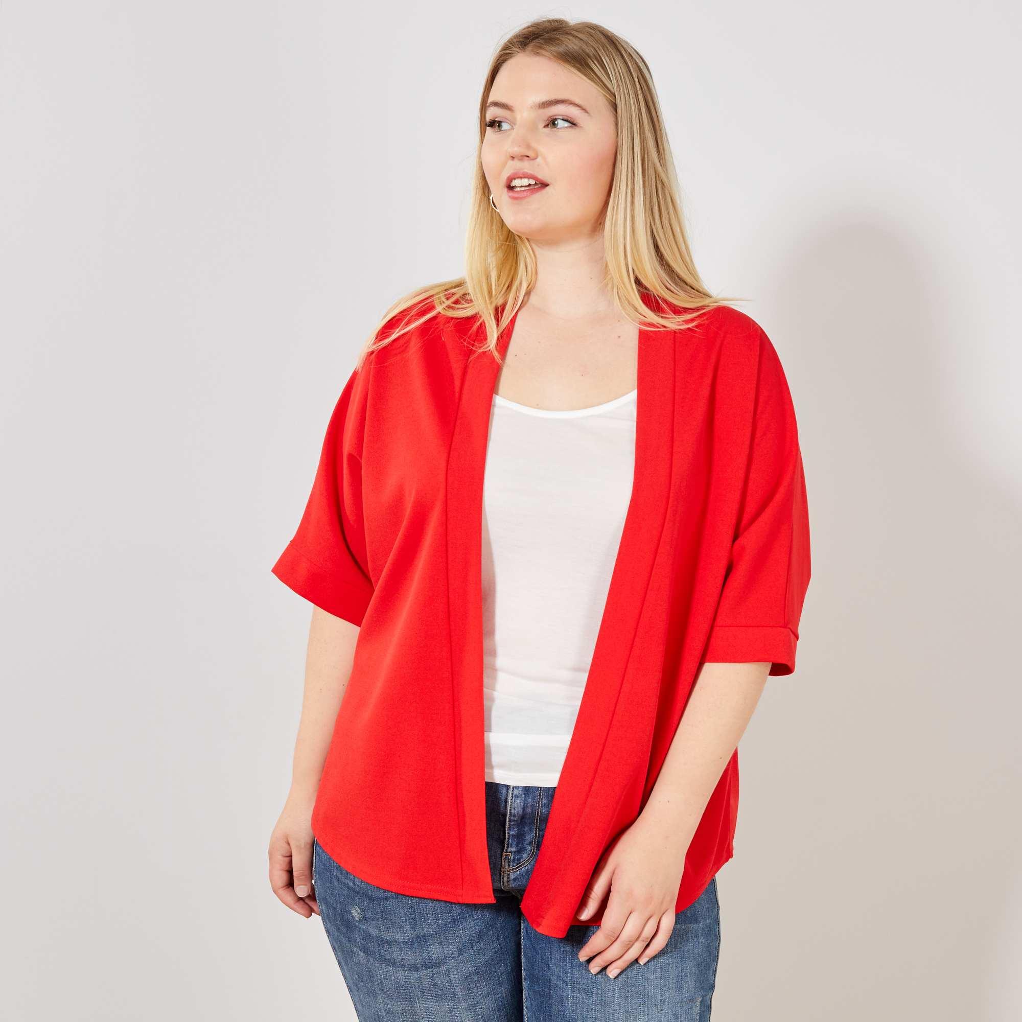 97002df5fec Chaqueta tipo kimono rojo Tallas grandes mujer. Loading zoom