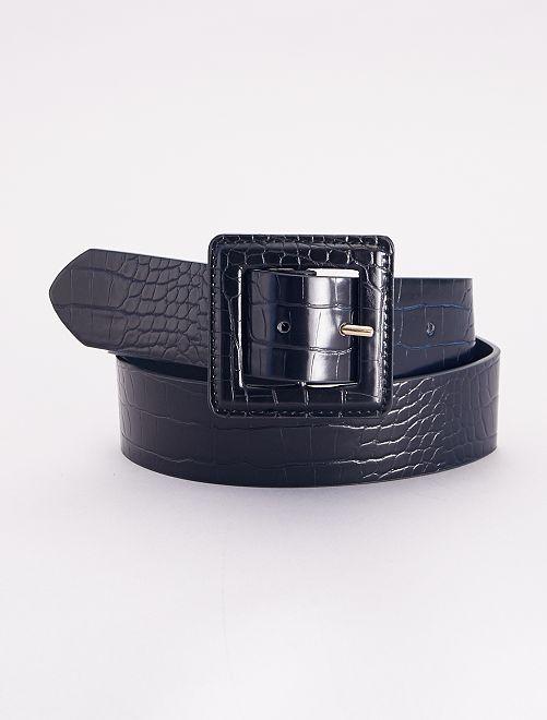 Cinturón ancho efecto cocodrilo                             negro
