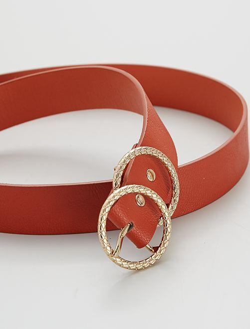 Cinturón con hebilla doble                             rojo teja