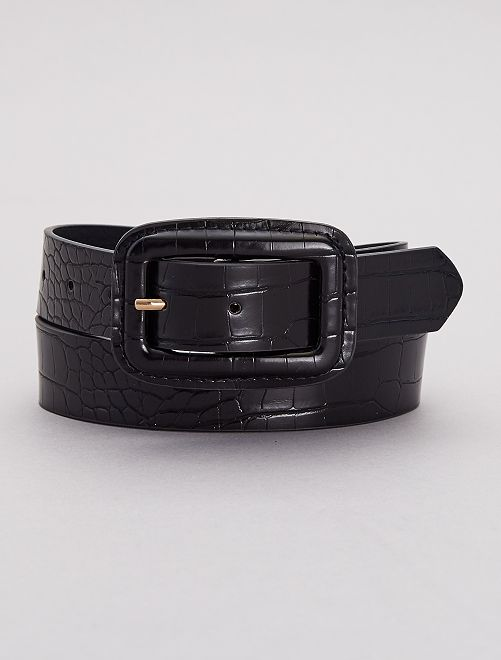 Cinturón con hebilla rectangular                             negro