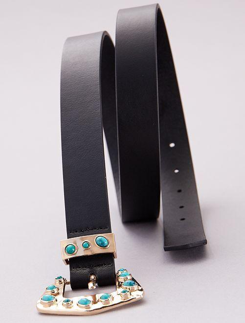 Cinturón con pedrería turquesa                             negro