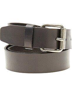 Hombre - Cinturón de piel negro - Kiabi