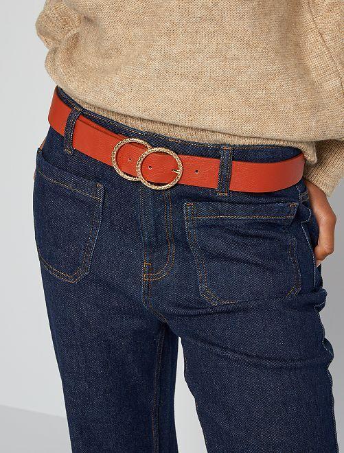 Cinturón de piel sintética con doble hebilla                                         rojo teja