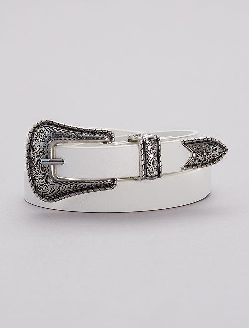 Cinturón estilo western                             blanco nieve