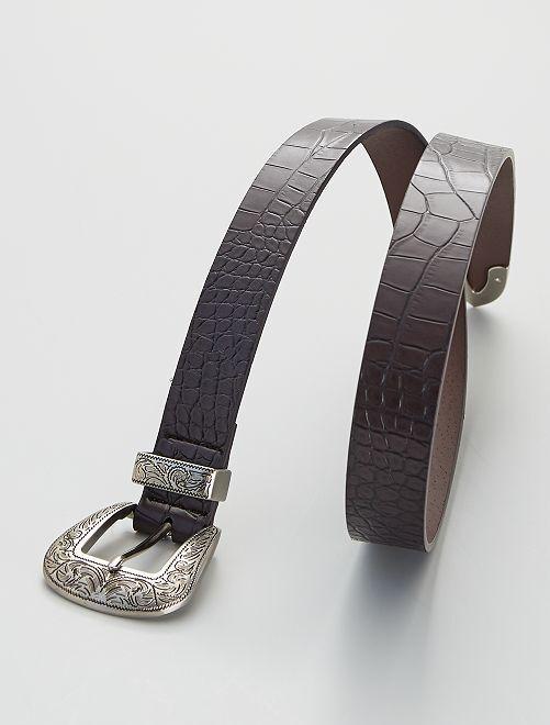 Cinturón estilo western de piel sintética                                         BEIGE