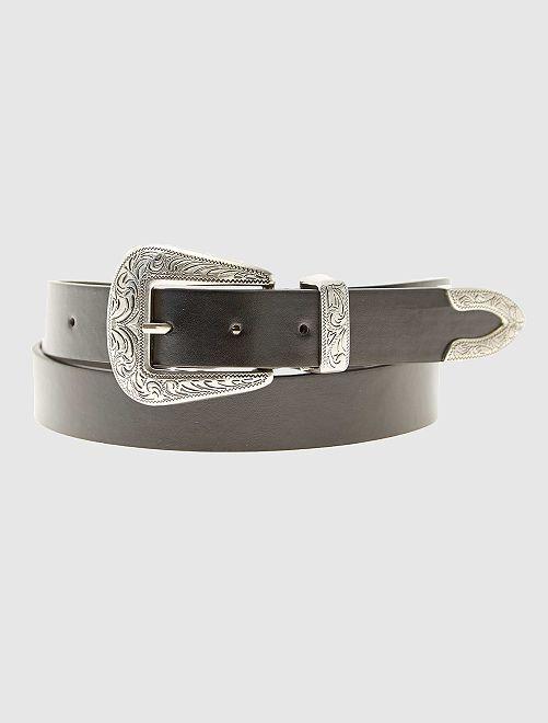 Cinturón estilo western de piel sintética                             negro
