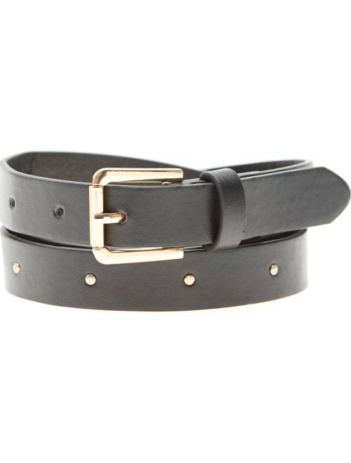Cinturón fino con remaches de fantasía                             negro