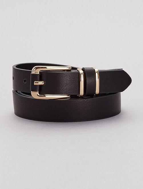 Cinturón fino de polipiel                             negro