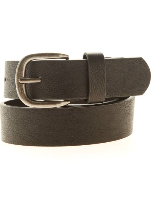 Cinturón liso de piel sintética                             negro Hombre