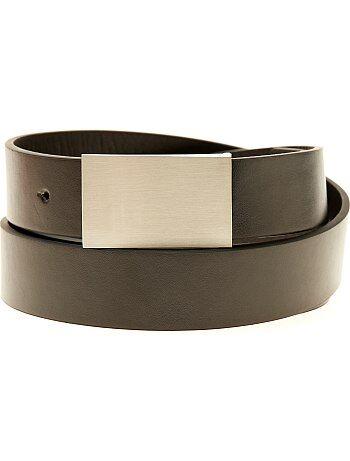 Tallas grandes hombre - Cinturón liso de piel sintética - Kiabi