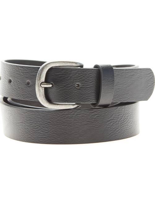 Cinturón liso de piel sintética                             negro