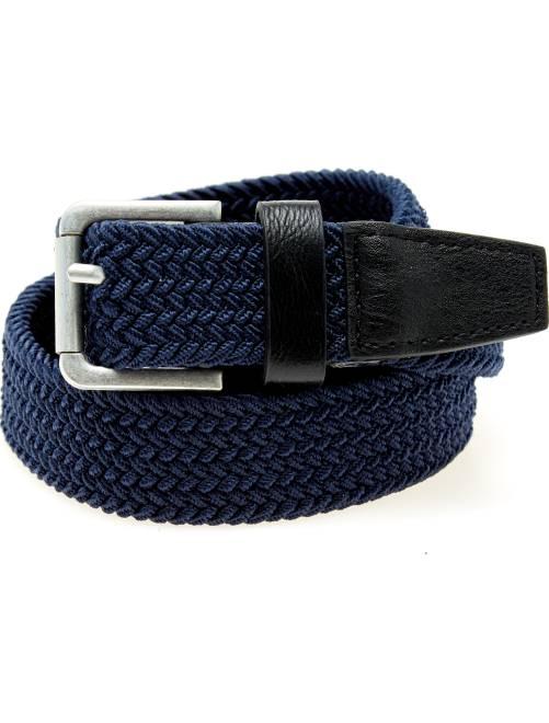 Cinturón trenzado con detalles de piel sintética                                                     azul