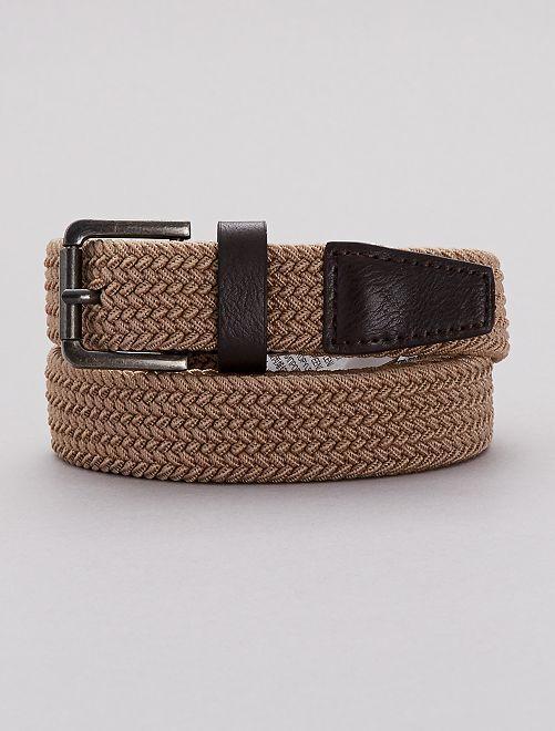 Cinturón trenzado con detalles de piel sintética                                                                 BEIGE