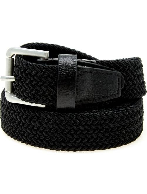 Cinturón trenzado con detalles de piel sintética                                                     negro