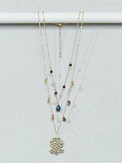 Mujer Collar con cadenas, abalorios y colgantes