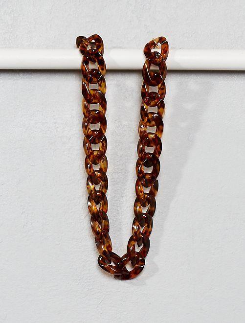 Collar con eslabones de leopardo                             marrón Mujer talla 34 a 48